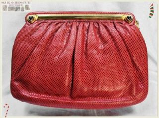GENUINE JUDITH LEIBER COUTURE LIZARD SHOULDER or CLUTCH PURSE/BAG, RED