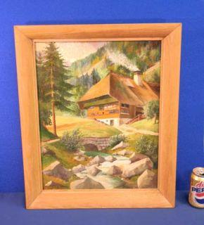 Old Oil Painting German Alpine Bavaria Black Forest House G Schwammle