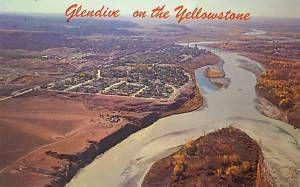 Glendive Montana MT Aerial View Yellowstone Postcard