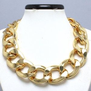 Rich Gold Extra Chunky Chain Necklace 17 19 Fashion Design Jewelry