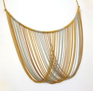 Stunning Two Tone 18K Solid Gold Ladies Lacy Dress Necklace