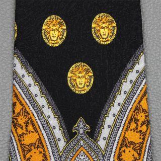 Gianni Versace Tie Medusa on Black Silk Necktie