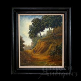 Superb D. GIBBS Signed Oil on Canvas Landscape Painting Large Ebonized