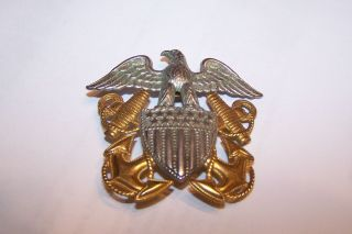 US Navy USN Sterling Silver GOLD Hat Badge Pin Eagle Shield Anchors