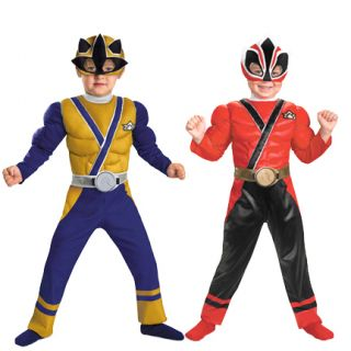 Show Nick Super Power Rangers Samurai Muscle Gold Red Costume