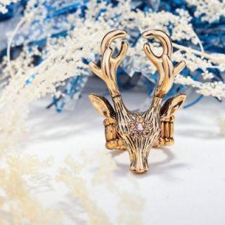 14k Gold Plated Rhinestone Flower Deer Stretch Ring Peach