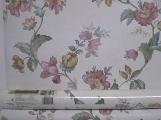 Pink & Gold Satin Flowers on Textured White Wallpaper by Sunworthy