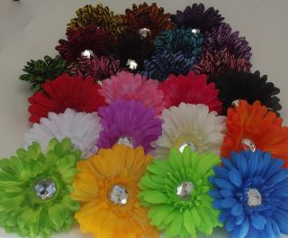 Gerbera Spring Daisy Flower Crystal Hair Clips 4 on Alligator Clip