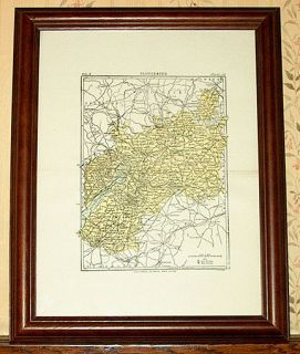 Gloucester County England Authentic Antique Map Genuine 117 Years Old