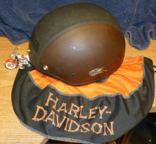 Genuine Harley Davidson Leather Covered Helmet w Storage Bag Size XL