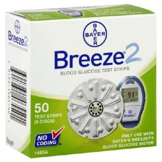 Breeze 2 Diabetic Test Strips for Glucose Meter 50 Test Strips