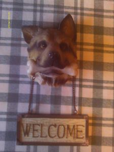 German Shepherd Dog Pup Puppy Canine Welcome Sign for Door