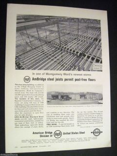of Montgomery Ward Store in Gary in 1958 US Steel Print Ad