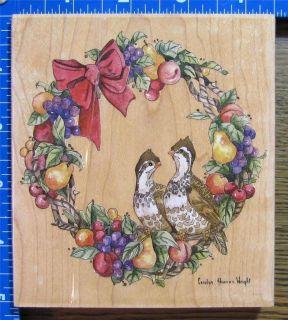 STAMPS HAPPEN WRIGHT rubber XL CHRISTMAS PARTRIDGE WREATH BIRDS FRUITS