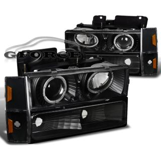 88 93 GMC Suburban Sierra Halo Projector LED Headlights Black Corner