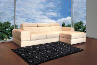 Full Leather Sofa Modern Living Room Sectional Adjustable Headrests
