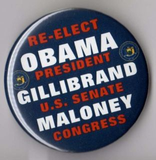 Obama Campaign Button Pin New York Maloney Gillibrand Coattail