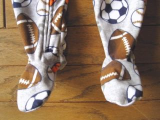 Toddler Boys Pajamas Gray Footed Sports Sleeper Baby Size 12 Months 4T