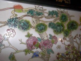 ROSE CHINESE PORCELAIN TILE / PLAQUE W/ GOATS IN A LANDSCAPE CA 1900