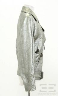 Gianni Versace Vintage Silver Leather Belted Motorcycle Jacket