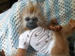 OOAK ART DOLL INFANT UNIQUE GIBBON MONKEY APE CHIMP GORILLAREALISTIC