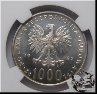 Polonia 1000 Zloty 1982 Giovanni Paolo II NGC MS65 14 5 G AG 625