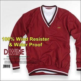 Mens VNeck Golf Pullover Windbreaker Jacket Windshirt Wind resister