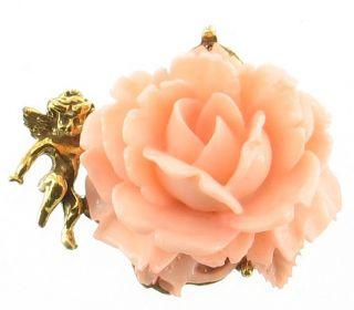Vintage Pink Rose Angel Pin Gold Tone Base Huge Unusual