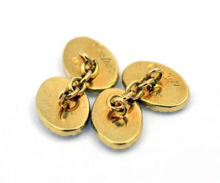 Authentic 18k Solid Gold Vintage Cuff links Cufflinks White Yellow