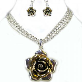 Metal Flower Silver Gold Earring Necklace Set Costume Jewelry
