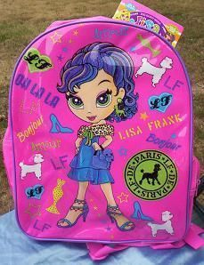 Pink Glittery PARIS GIRL & Poodle Dogs Backpack NeW +1 School Folder