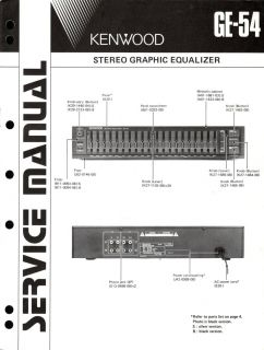 Original Kenwood GE 54 Equalizer Service Manual