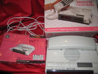 Vtg GE Alarm Clock Radio Phone Space Saver Orig Box* Unused* Back to