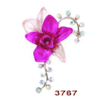 6P Flower Brooches Pins Choker 47 36mm AB Colorful Crystal White Gold