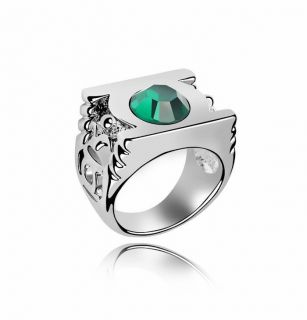 Green Lantern Gold Ring Austrian Crystal White Gold Plated