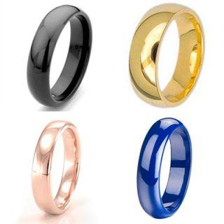 Black Gold Rose Gold Blue Plate Dome Titanium Ring