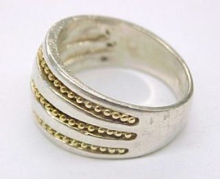 Sterling Silver Band Ring with 14k Yellow Gold Rope Accent Size 7 25