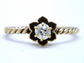 Old European Cut Diamond 14k Gold Petite Cable Rope Ring