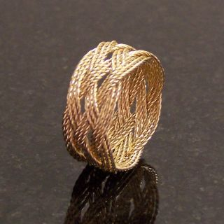 14k Gold Wire Rope Trebled Turks Head Knot Ring Hand Tied