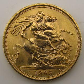 United Kingdom Full Gold Sovereign 1963 Bullion Coin 235 ozt Elizabeth