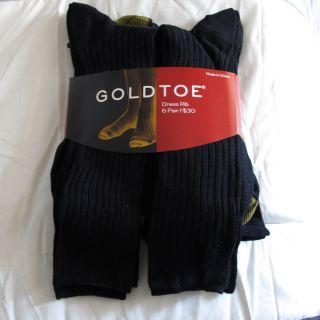 Gold Toe Mens 6 Pair Dress Rib Socks Black
