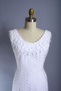 Vintage 60s Fitted White Mad Men Lace Wedding Dress s M