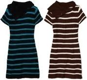Pink Angel Brown Cream or Blue Black Stripe Sweater Dress 14 16