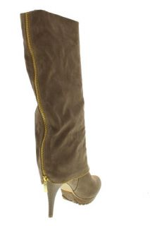 Designer Golda Taupe Cuffed Zippered Heels Mid Calf Boots Shoes 7 5