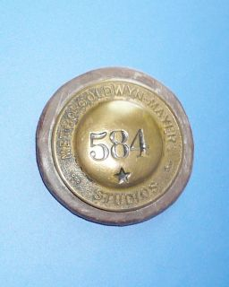 Vintage Metro Goldwyn Mayer MGM Studios Badge #584 Security Pin METAL