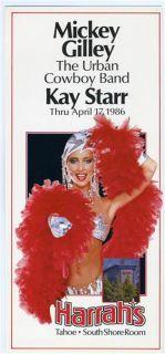 Mickey Gilley Harrahs Lake Tahoe Postcard 1986 Kay Starr