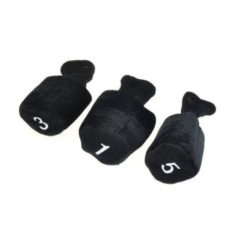 Features of Protective Golf Club Head Covers Set Black 3 Pieces Pack