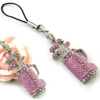 Cute Pink Golf Club Rhinestones Cellphone Charm Strap