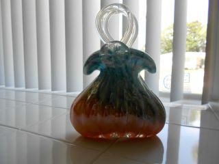 Murano Art Glass Multi Color Purse Vase Hand Blown Glass