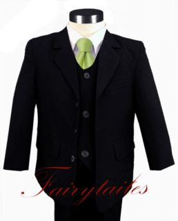 Gino Formal Boy Black Suit w Green Tie Size 4